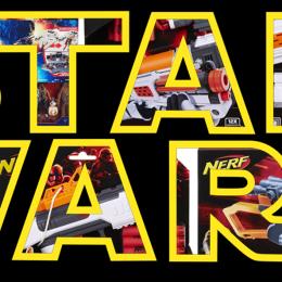 Verpackungen aller Star Wars Nerf Guns hinter dem Logo